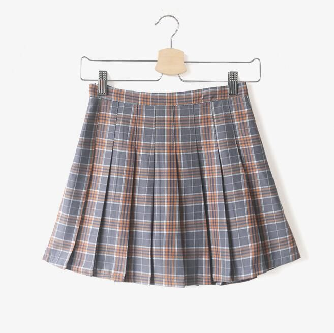 Plaid skirt Girls red plaid dress Pleated skirt uniform Sumemr ...