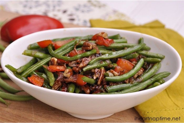Green Beans with Pecans, Red Peppers and Onions