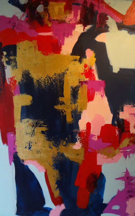 """Edgy Modern Original Art Abstract Painting 36 X 24 Contemporary Dramatic Indigo Navy Metallic Gold Pink Red Magenta Blue """"LEATHER AND LACE"""". 275 dollars"""