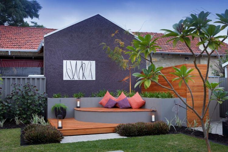 Ideen für Terrassengestaltung bilder-gemauerte-hochbeete-sitzbank - gemauerte sitzbank im garten