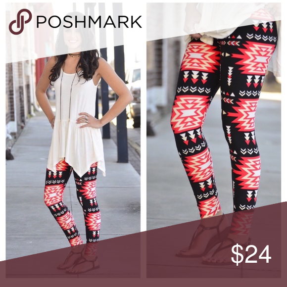 Tomato Red Aztec Leggings These Aztec Print Leggings Are Soft As
