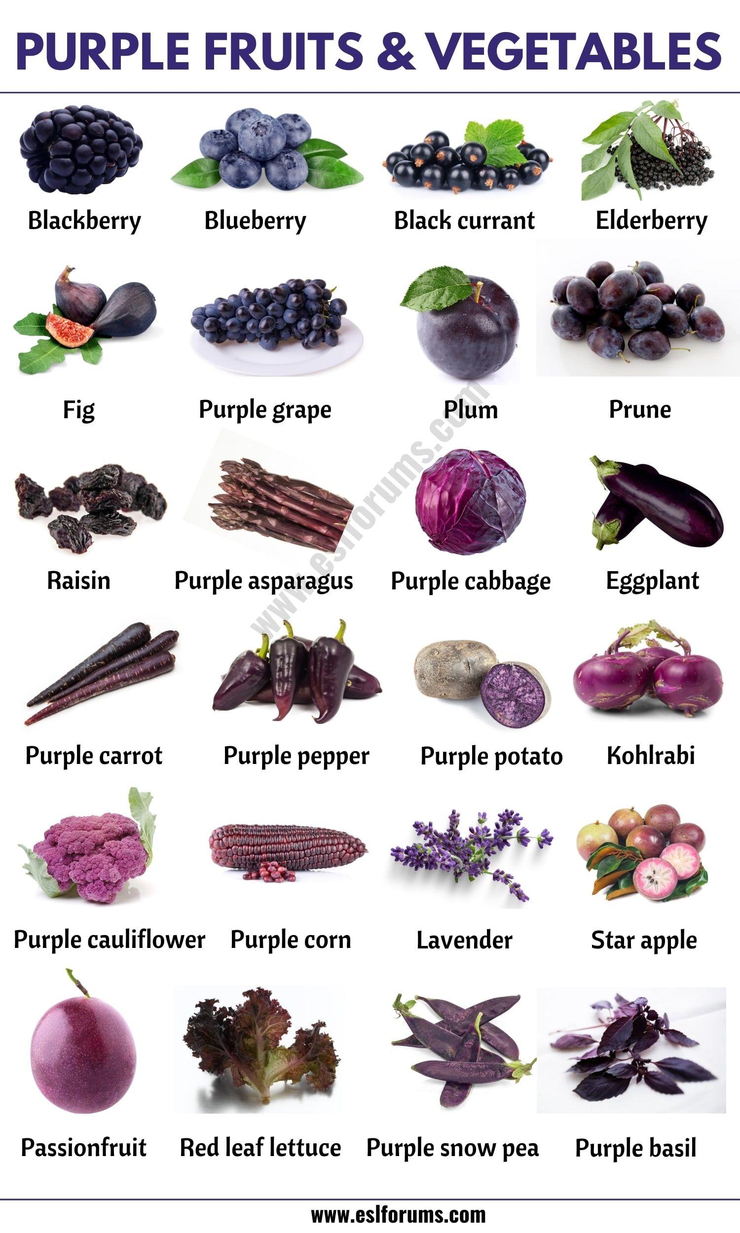 Purple Vegetables List Of 24 Purple Fruits And Vegetables In English Esl Forums Purple Vegetables Vegetables Purple Food
