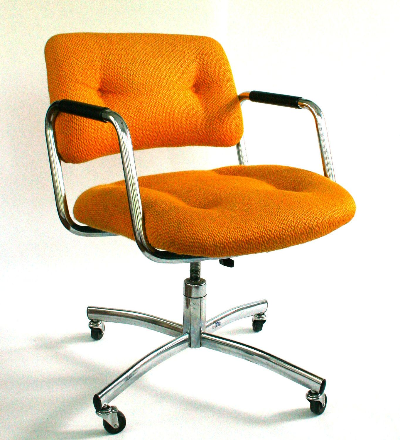 Vintage Office Desk Chair Mid Century Upholstered Mustard Yellow Fire Gold Button Tufted Industrial Retro Mod Casters Wheels Retro Office Chair Orange Office Chairs Office Chair