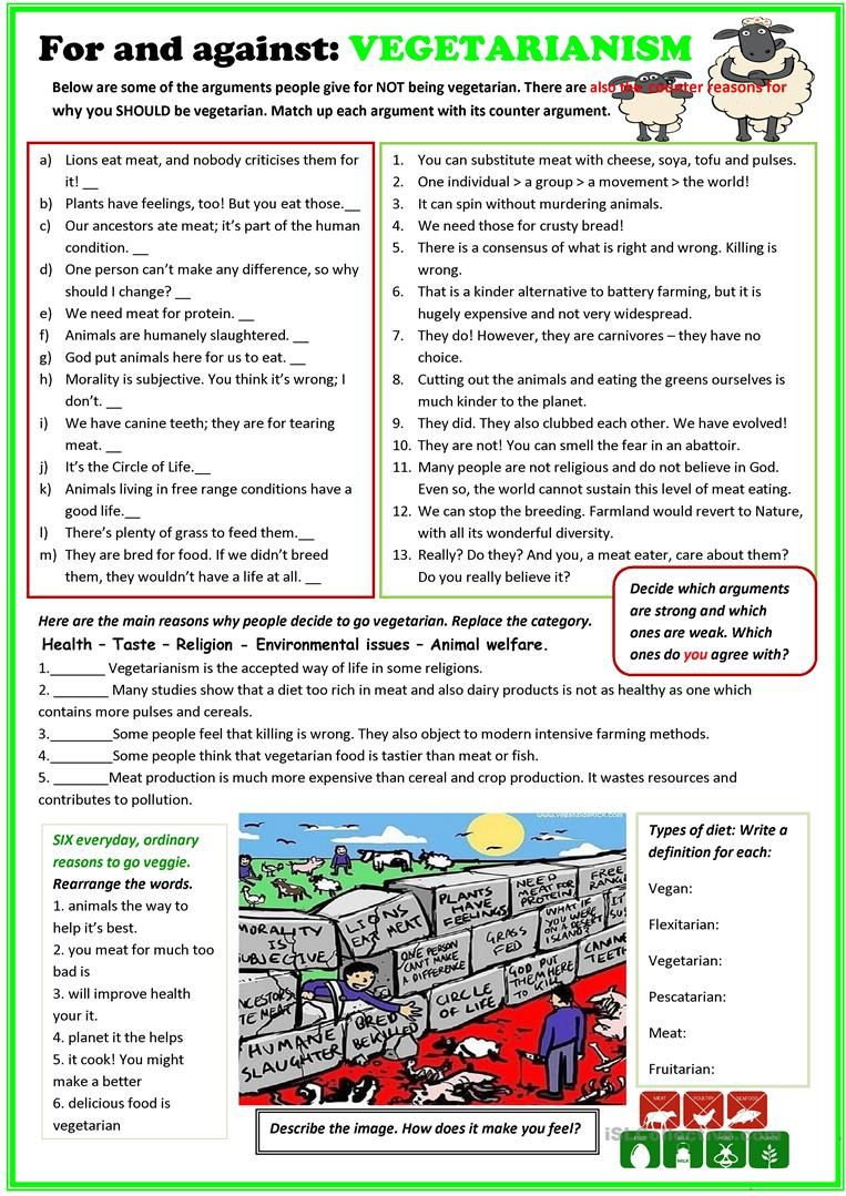 For And Against Vegetarianism Worksheet Free Esl Printable Worksheets Made By Teachers Persuasive Writing English Lessons Learn English [ 1079 x 763 Pixel ]