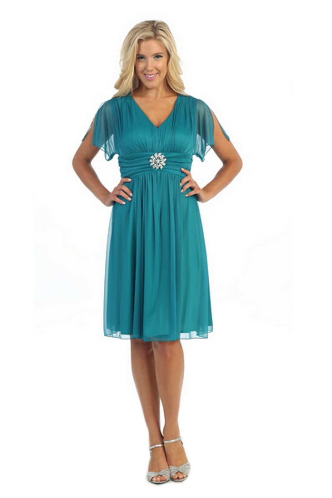 Mother of the Bride Short Dresses Jade Short Sleeve Chiffon V Neck ...