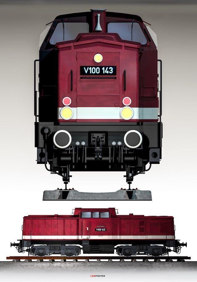 Eisenbahn Poster, Baureihe V 100 der DR, Lokomotive 70 x 100 cm auf Fotopapier   eBay