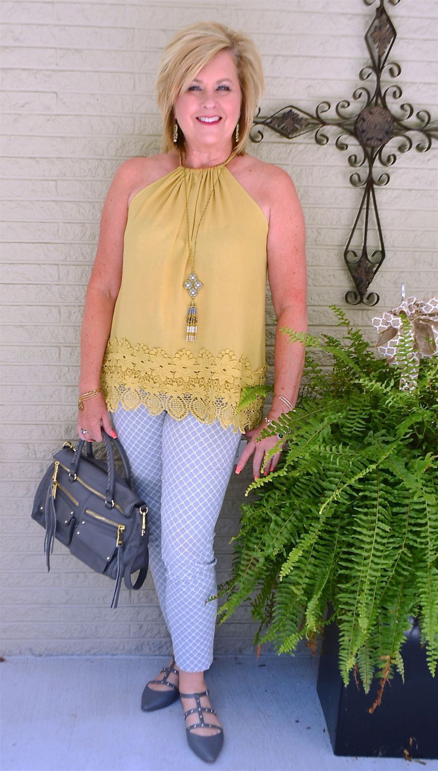 Can women in their fifties wear a halter top grey yellow