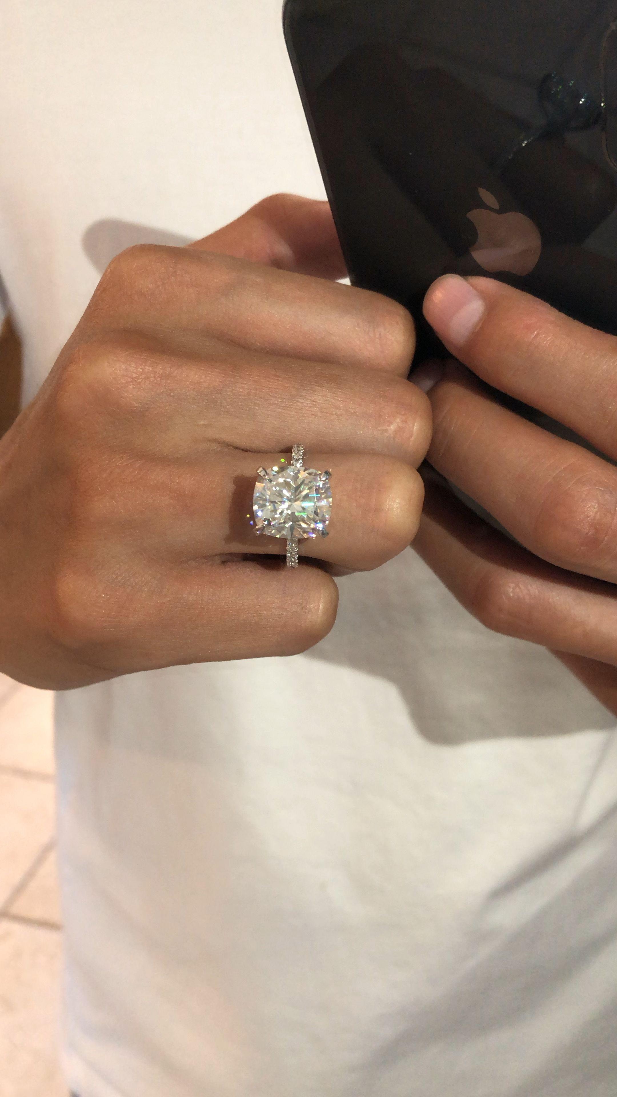 7 Carat Elongated Cushion Moissanite & Diamond Hidden Halo Engagement Ring #cushionengagementring