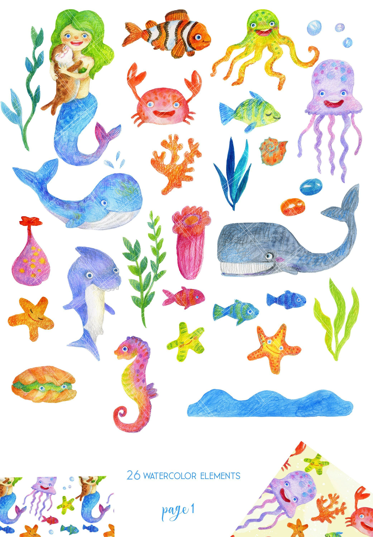 Watercolor Sea Creatures Clipart Illustrations Creative Market