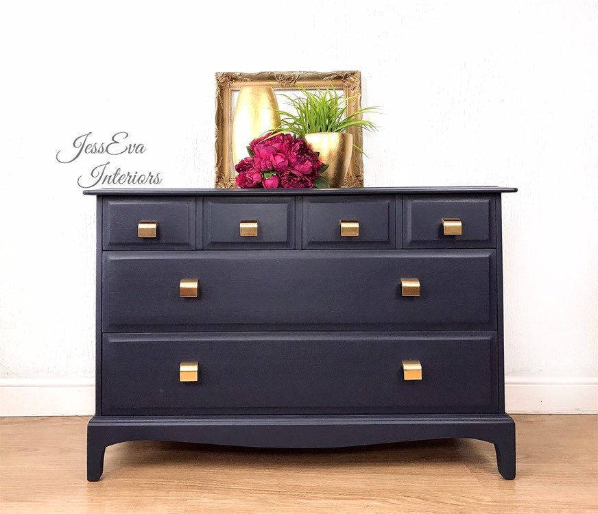 Painted Chest Of Drawers Bedroom Furniture Set Stag Minstrel Chest Of Drawers Navy Blue Chest Of Dr In 2020 Blue Chest Of Drawers Bedroom Furniture Sets Blue Chests