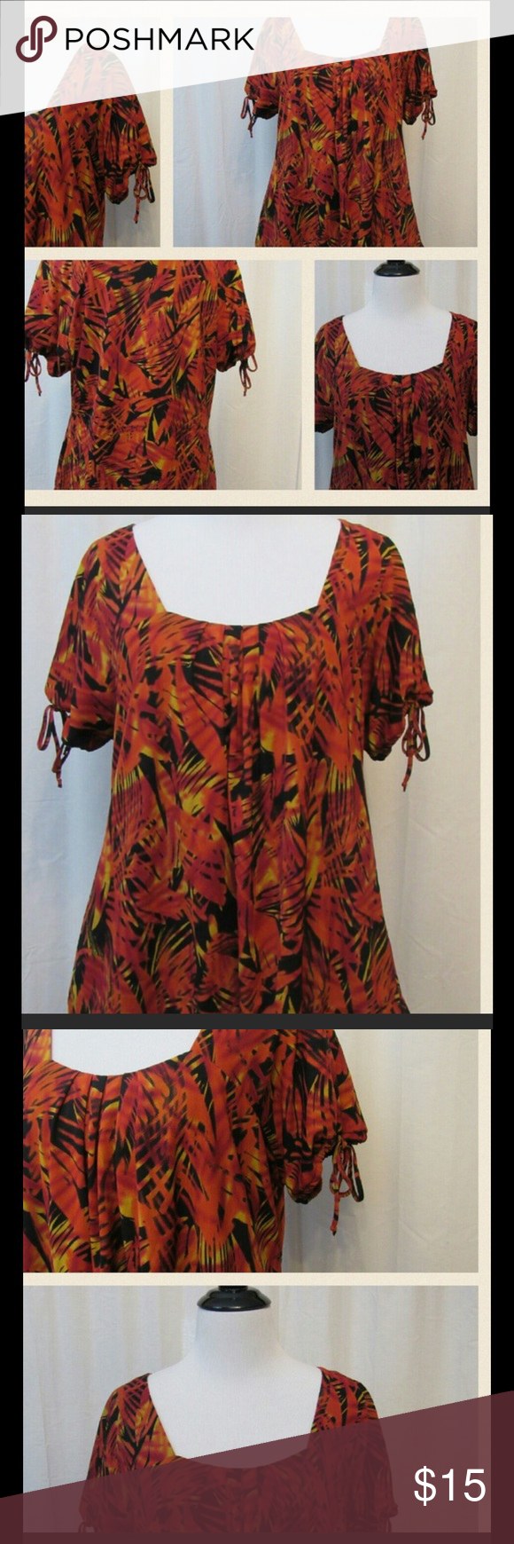 """Worthington Orange Black Short Sleeve Top L Great condition. Short sleeve. Super cute and comfy. Scoop Neck. Lined.   All clothes are in excellent used condition. No stains or holes.  Content: 100% nylon lining: 100% polyester  Bust: 40"""" Length: 23""""  Posh11 Worthington Tops Blouses"""