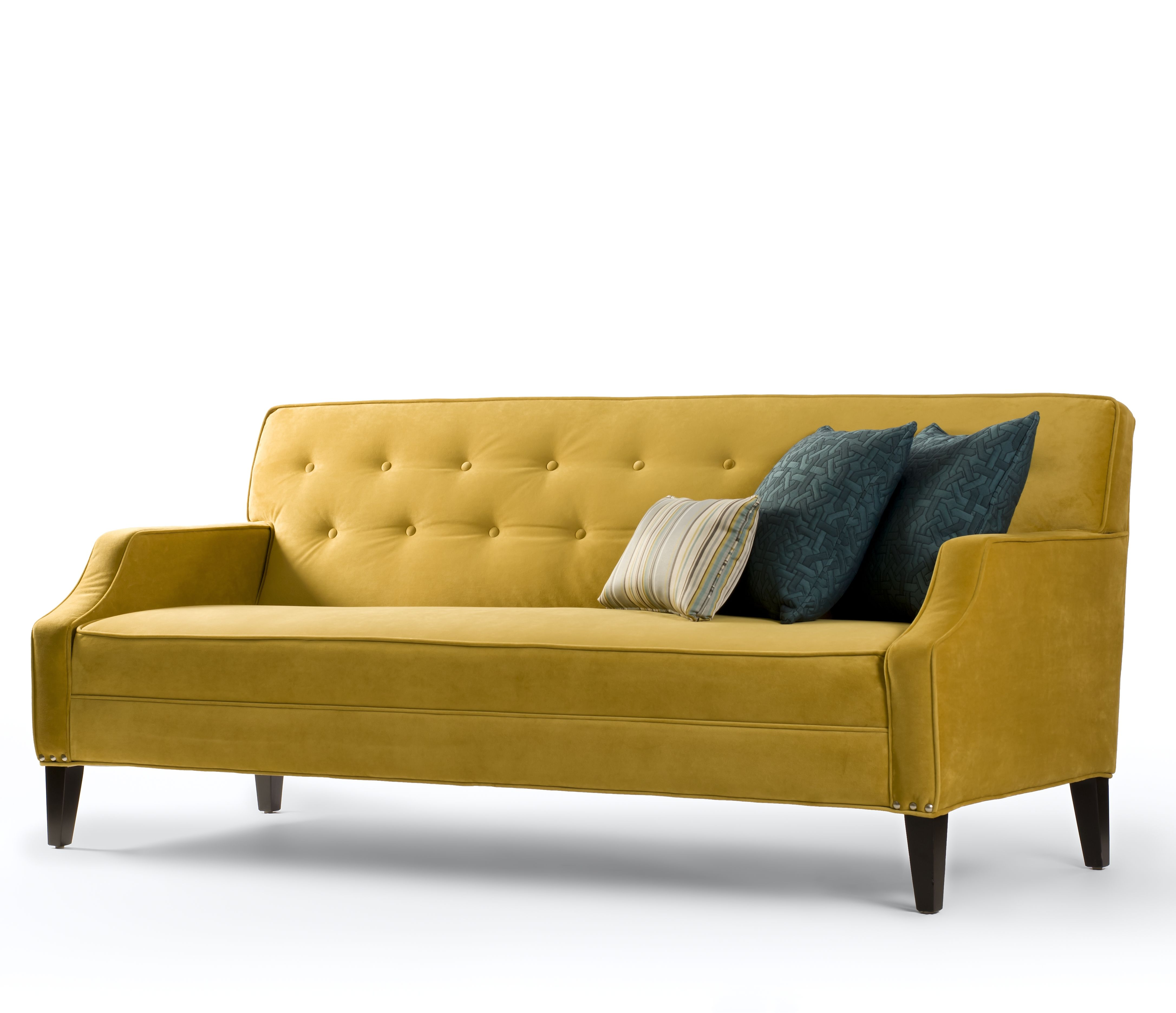 retro golden yellow couch love and reminds me of my great grandmas