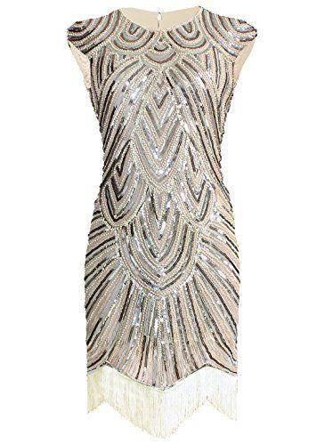 Vikoros 1920s Art Deco Great Gatsby Inspired Tassel Beaded Flapper Dress