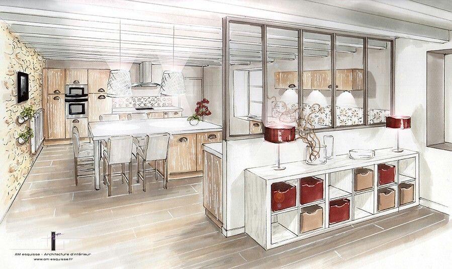 Pingl par banana milk sur interior sketch en 2019 d co - Plan de maison avec cuisine ouverte ...