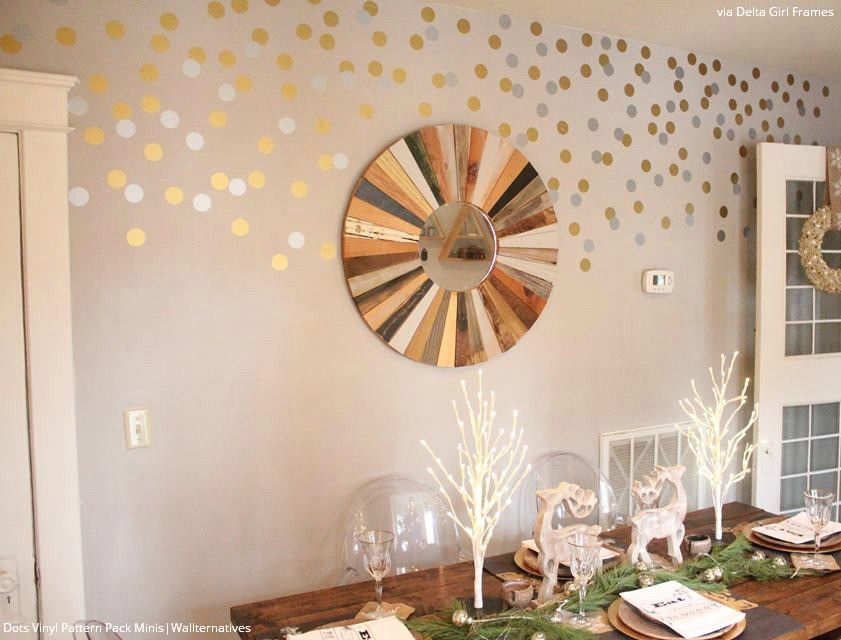 Dots Vinyl Pattern Pack Minis Shapes Vinyl Wall Stickers - Gold dot wall decals nursery