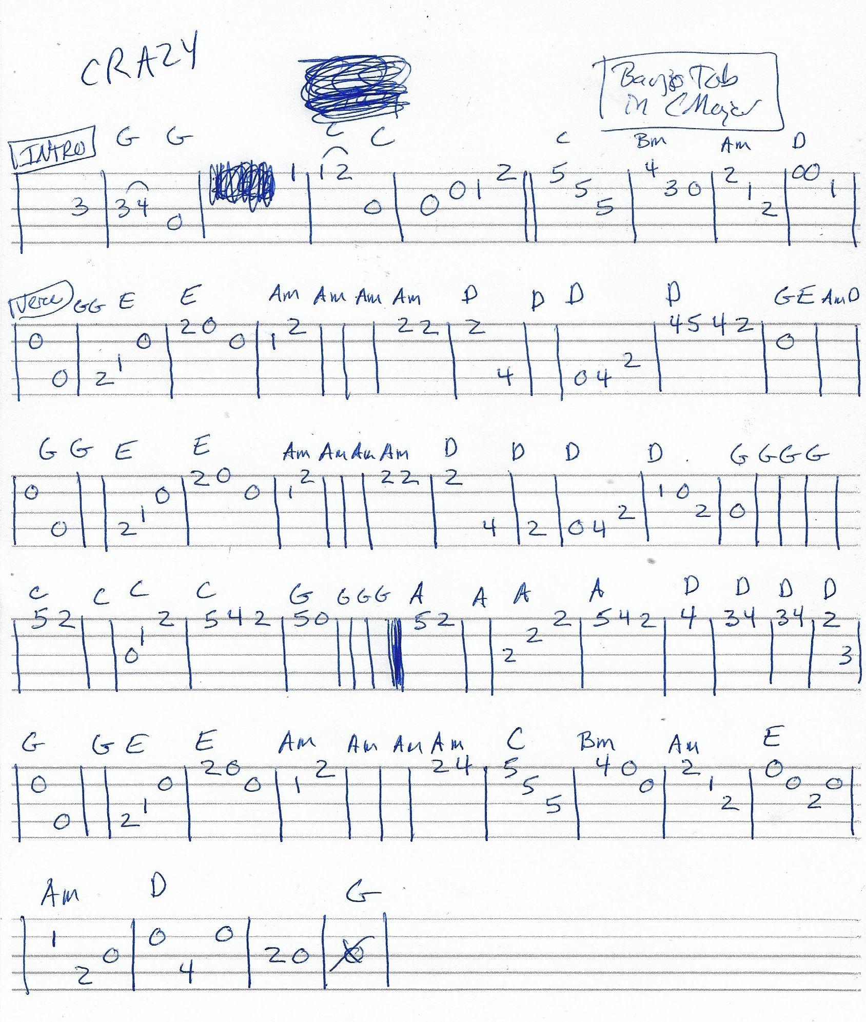 Crazy Patsy Cline Guitar Chord Chart   Banjo Melody Tab in G ...