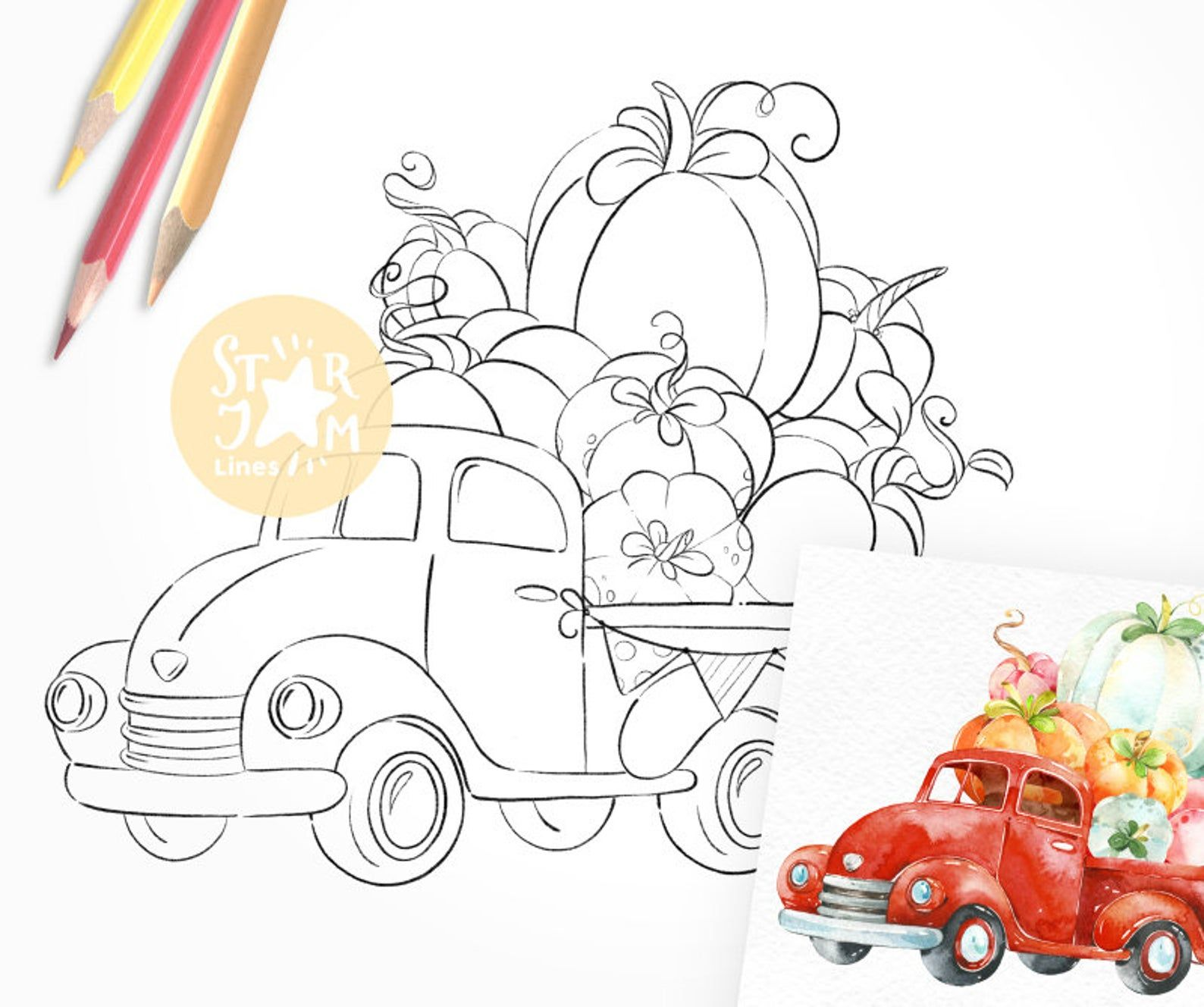 Truck With Pumpkins Digi Stamp Harvest Country Farm Etsy Digi Stamp Coloring Pages Truck Coloring Pages