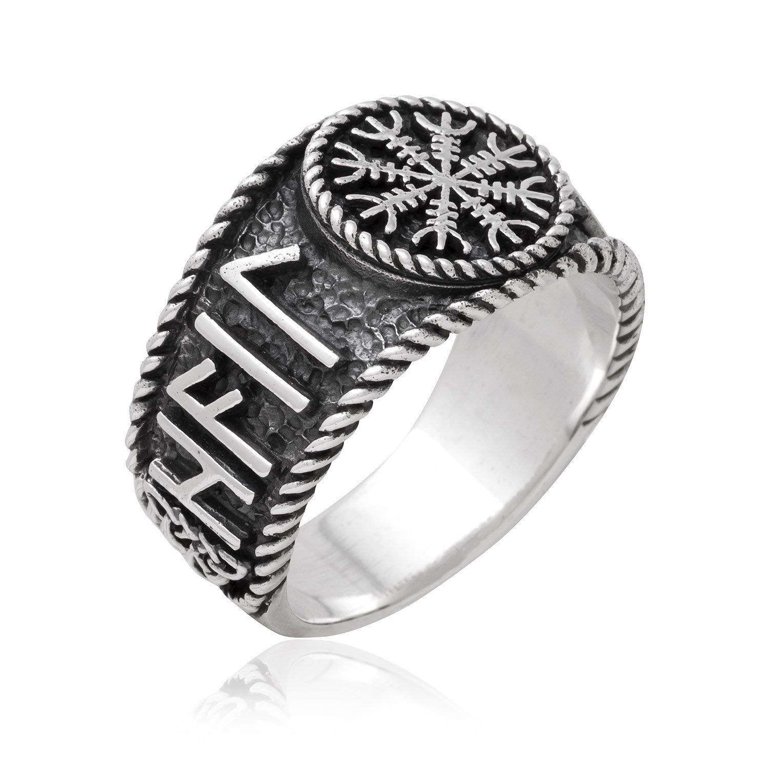 925 Sterling Silver Antique Finish Helm of Awe Runes Ring