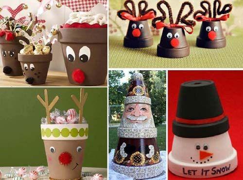 Ideas para decorar macetas en navidad03 Navidad Pinterest
