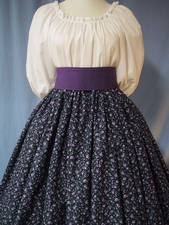 Pioneer Long Skirt - Colonial, Frontier, Victorian, Civil War Reenactment Costume - Purple Floral on Navy Cotton Print - Handmade - Visit to grab an amazing super hero shirt now on sale!