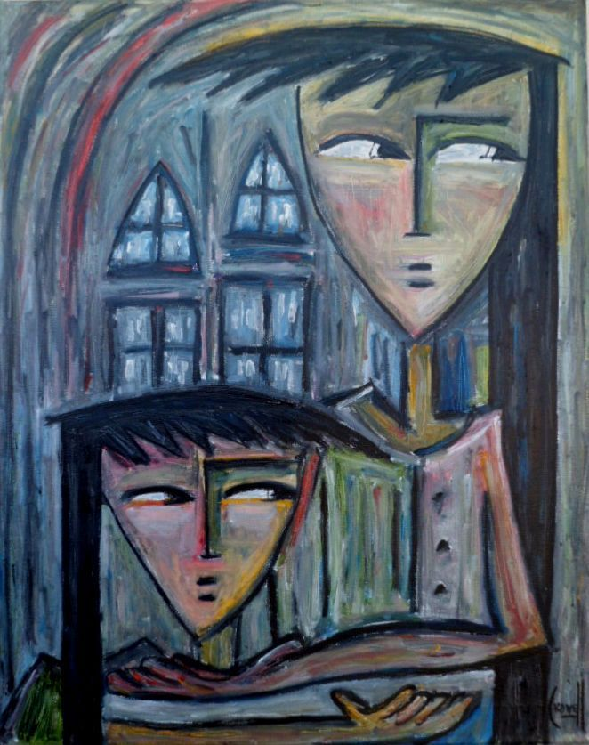 Angel Botello Style Mother + Child 16x20 ABSTRACT Cubism OIL Painting Original   #Cubism