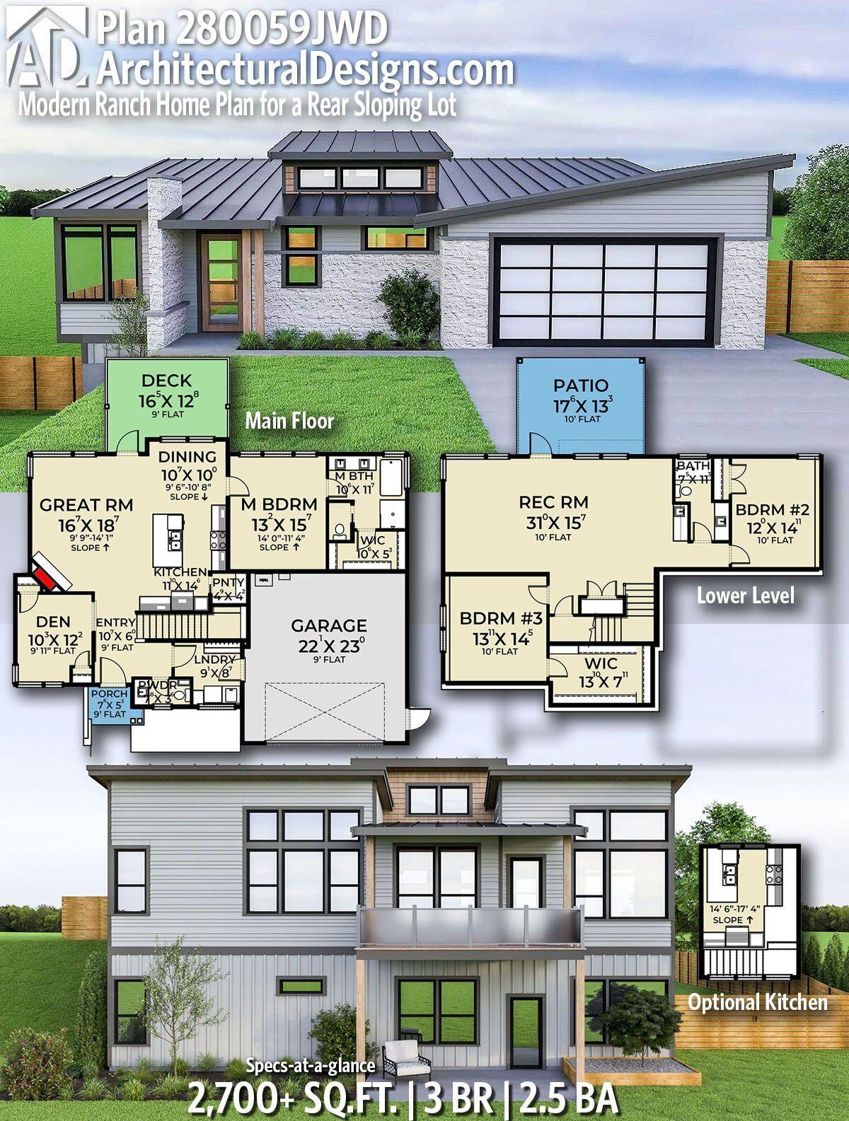 Plan 280059jwd Modern Ranch Home Plan For A Rear Sloping Lot Ranch House Plans House Plans Modern House Plan