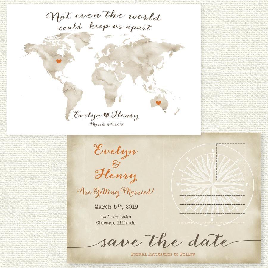 Travel theme save the date postcard invitations