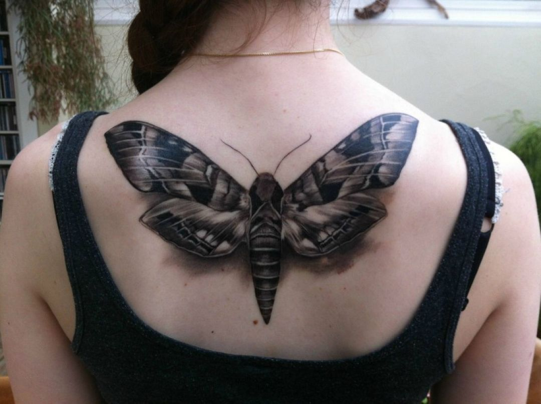 3d Cool Ink Black Butterfly Back Tattoo Design nel 2020