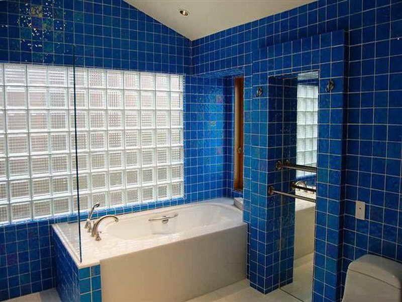 Beautiful Tile Bathroom With Vintage Blue Colour Surfaces