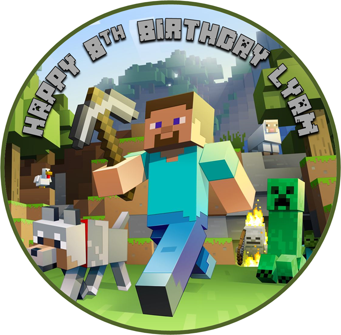 Edible Minecraft Cake Topper Wafer Paper 18cm Round Personalized Minecraft Birthday Minecraft Minecraft Party