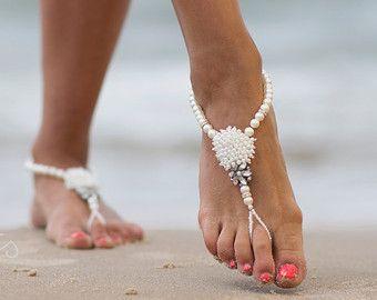 Beach Wedding Barefoot SandalsBridal Foot JewelryBoho Slave diy