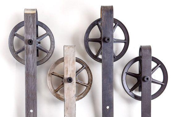 Classic Industrial Sliding Barn Door Hardware Set by PeonyRow - Spoked Industrial Sliding Barn Door Hardware Set Barn Door