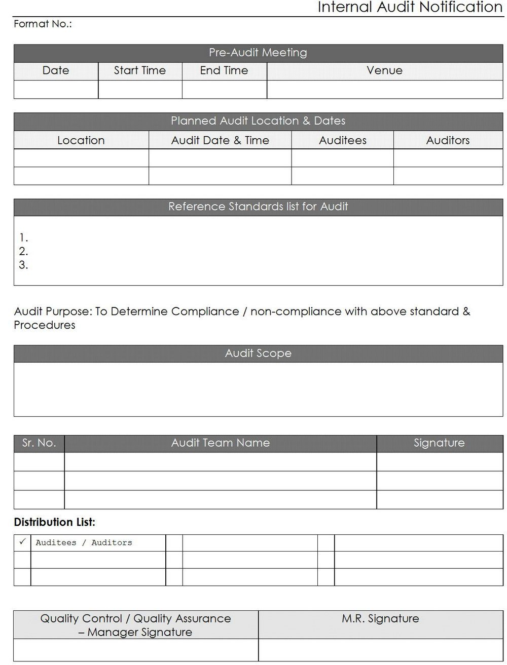 Iso Internal Audit Report Template Internal Audit Audit Report