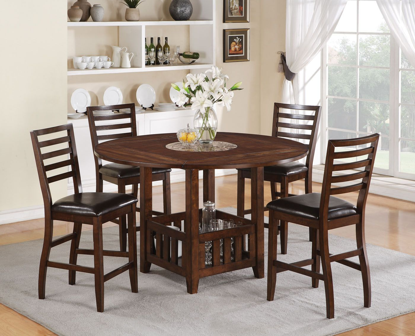 Acme Theodora 5Pc Drop Leaf Counter Height Dining Table Set In Fascinating Acme Dining Room Set Inspiration