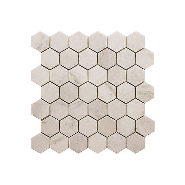 Modamo Inch X Inch Hexagon White Marble Polished Mosaic Tile - 2 carrara marble hexagon floors
