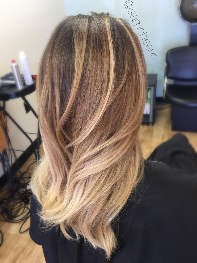 Natural golden honey blonde platinum balayage highlights ...