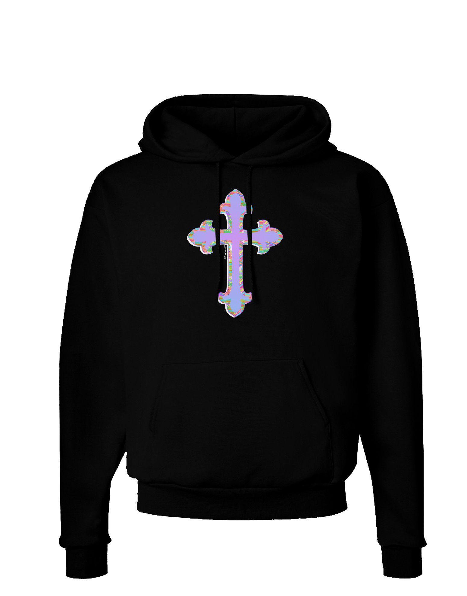 TooLoud Easter Color Cross Dark Hoodie Sweatshirt