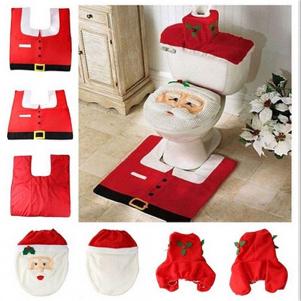 Elf Santa Santa 3 pcs Christmas Xmas D/écor Toilet Seat Covers Reindeer /& Snowman