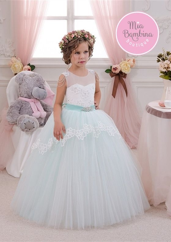 4c4a148cb8de1 ... Flower Girl Dress | Girls Ball Gown for Wedding Flower girl dress with  illusion lace sweetheart bodice and floor-length contrasting colour full  tulle ...