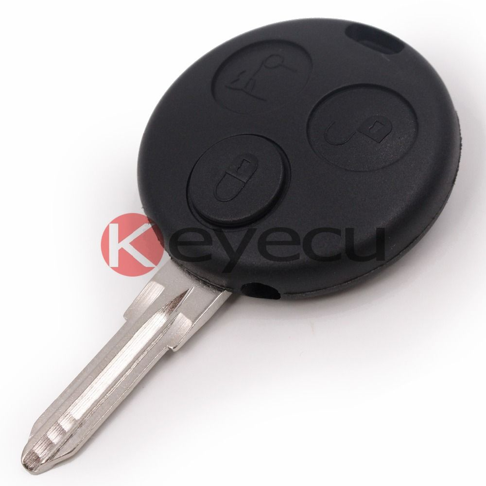 Replacement 3 Button Remote Key Shell Case Fob For Smart Fortwo