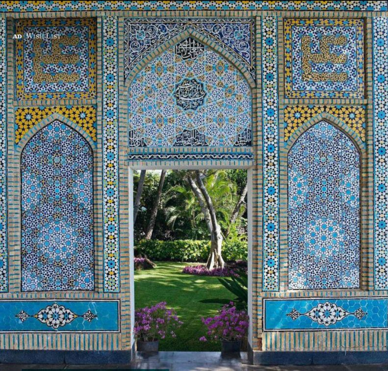 Islamic architectural details featuring azure Blue and yellow mosaic tiles at Doris Dukes Shangri La in Hawaii