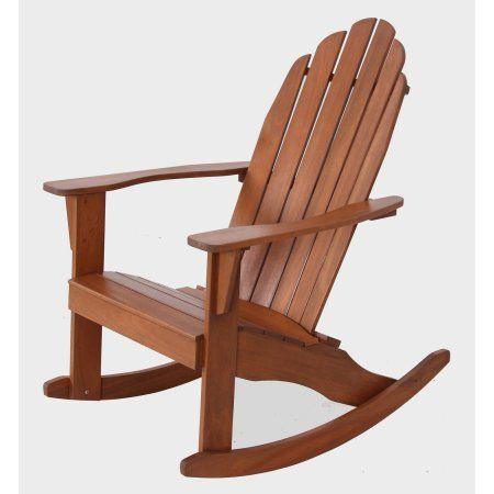 Mainstays Wood Adirondack Rocking Chair Natural Brown In