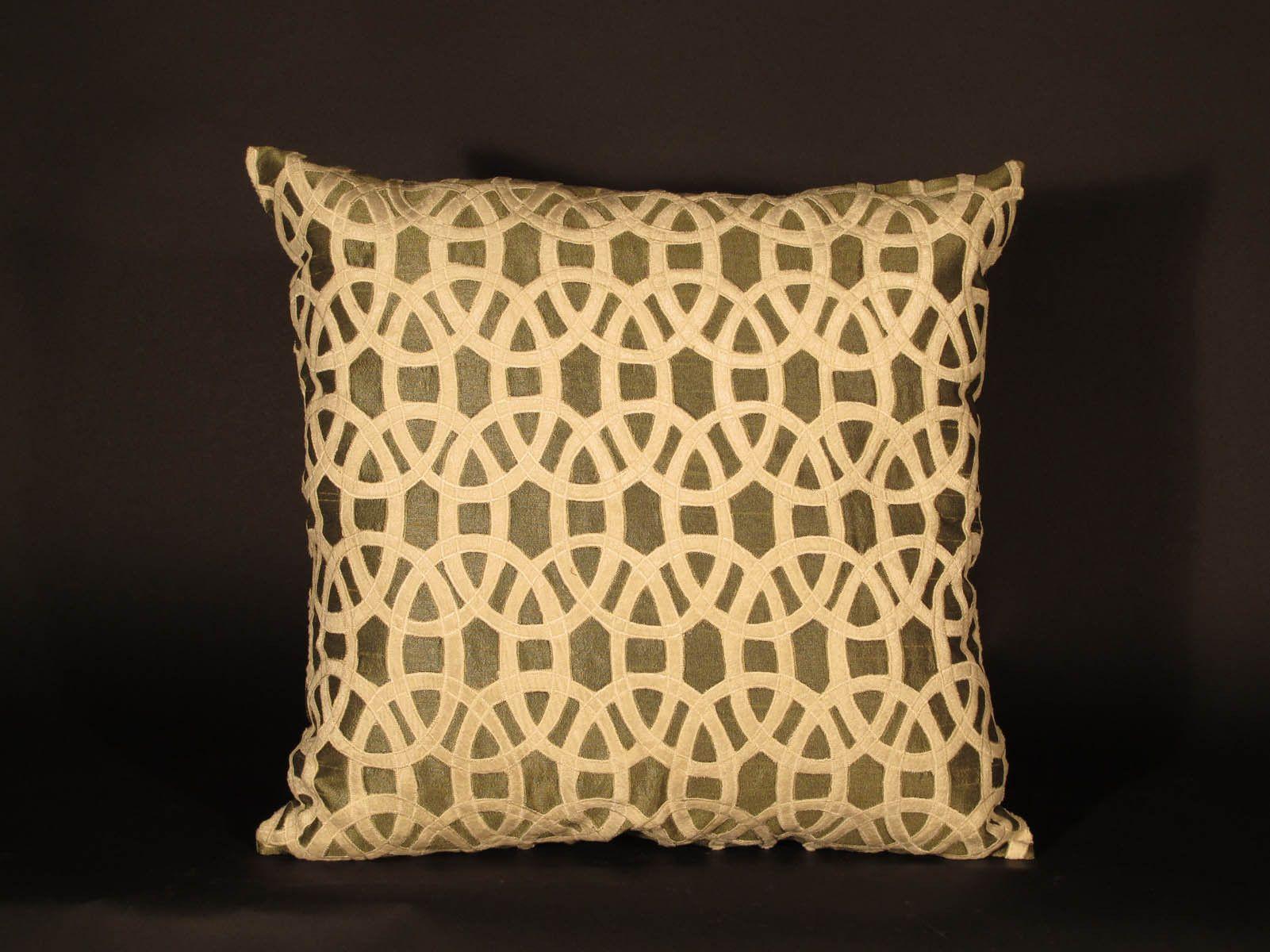 Embroidered Cushion Cover Iznik Design Olive - Cream - 46 x 46 (wxdxh cms) - A3951V8NP