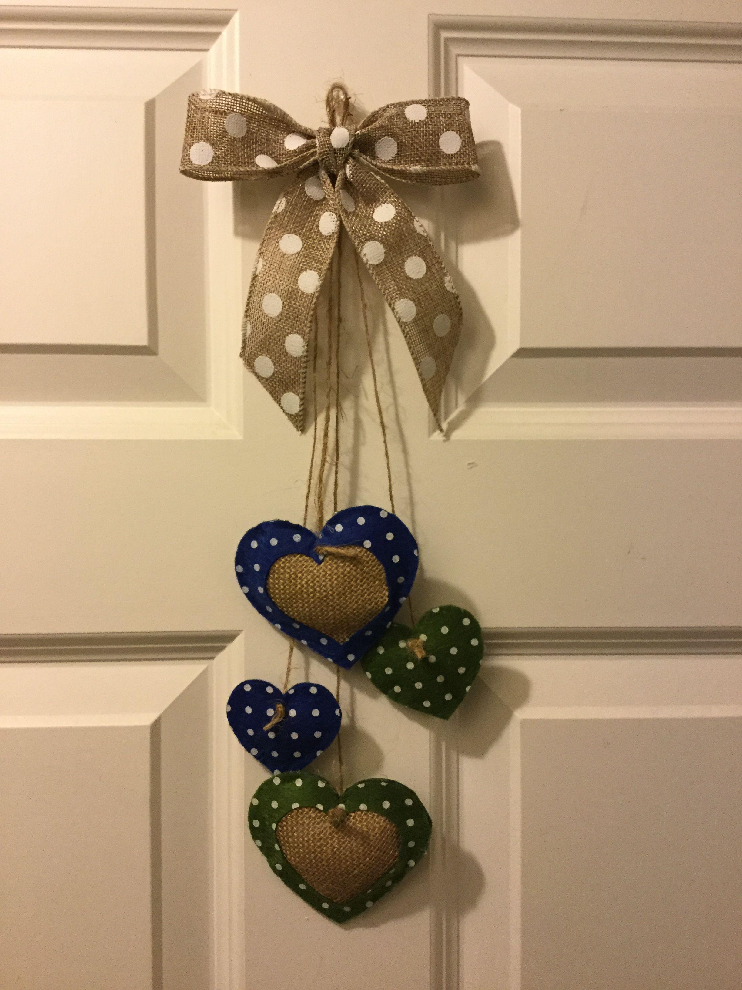 Felt and burlap hearts wall hanging door decoration | Lisa Reed ...