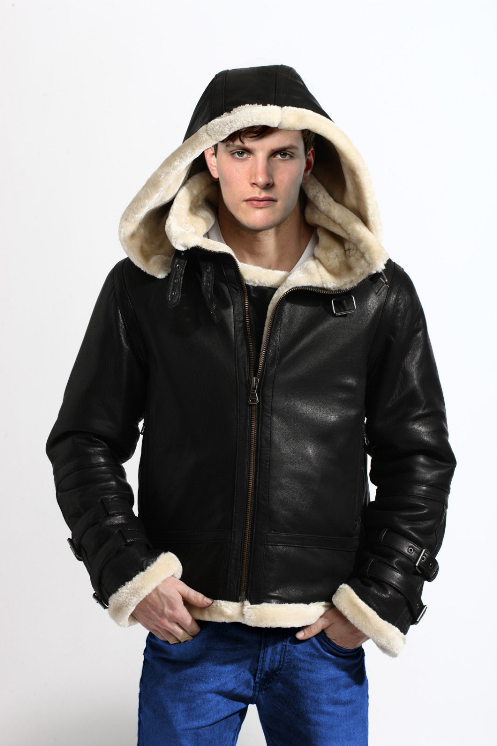 Mens Black Bomber Shearling Jacket Leather jacket