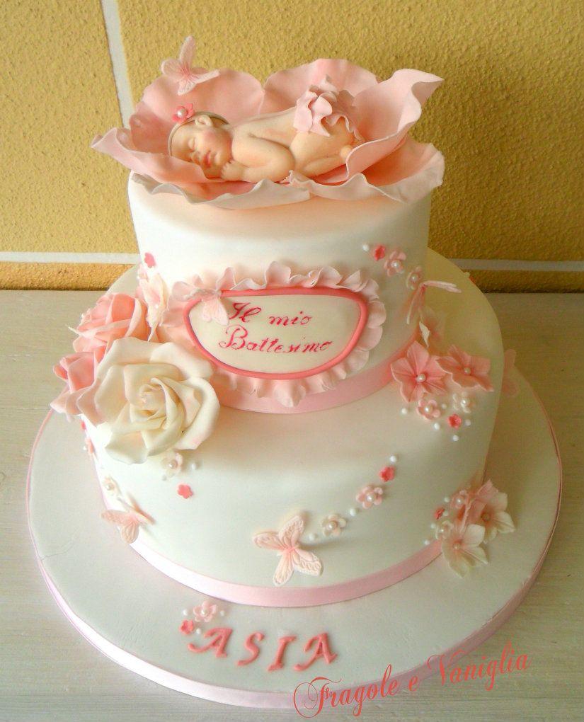 Torta battesimo con farfalle e rose rose farfalle e torta - Decorazioni per battesimo bimba ...
