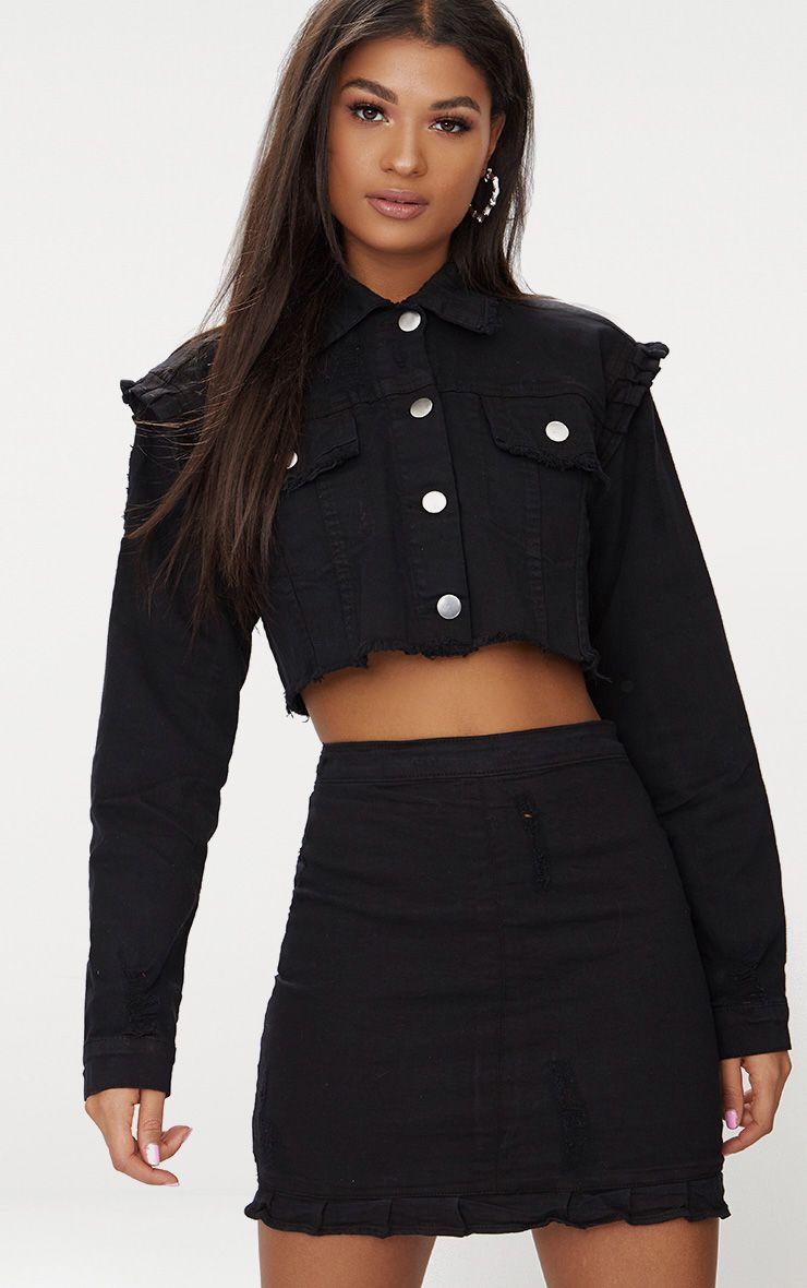 7380fb336 Black Ruffle Cropped Denim Jacket in 2019 | alt fashion. | Cropped ...