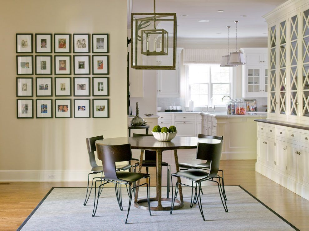 Beige Wall Picture Frames Dining Room Transitional With White Cabinet  Square Standard Height Dining Tables