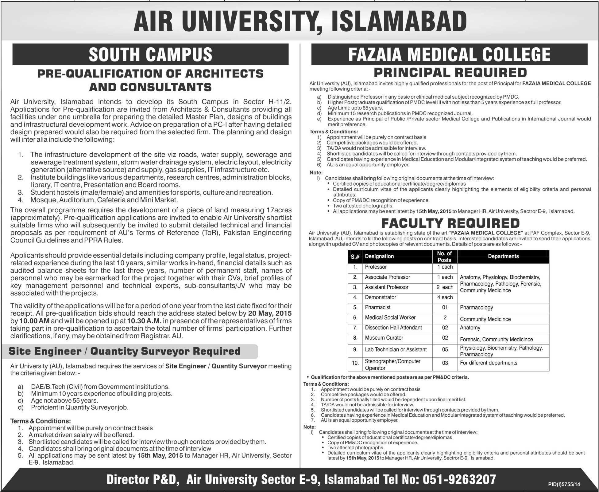 Jobs In Air University Islamabad Pakistan Islamabad Pakistan Medical College University