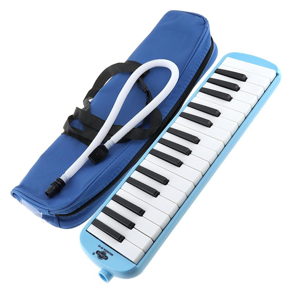 32 Key Blue Harmonica Melodica Teaching Instrument with Deluxe Carrying Case for Beginner Keyboard Instruments